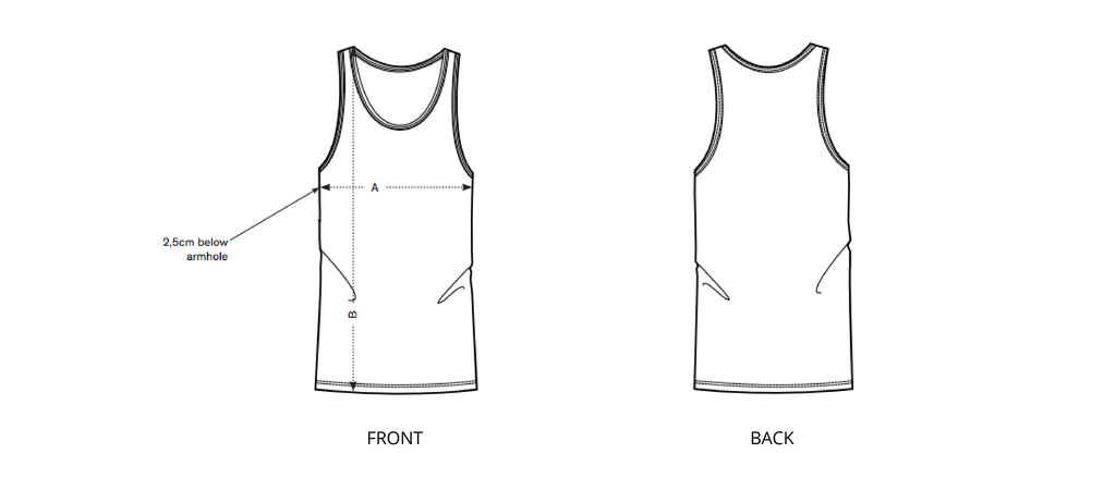 Sizing chart diagram for the Mens Singlet.
