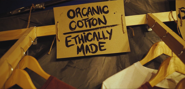 Hand painted market stall signage – 'Organic Cotton, Ethically Made'