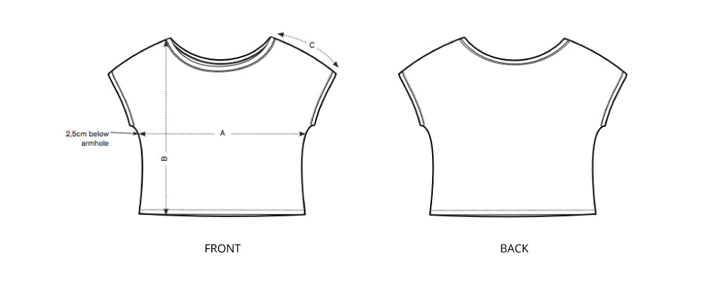 Sizing chart diagram for the Womens Cropped Tee.