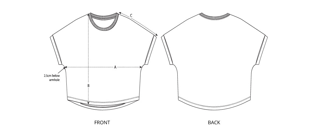 Sizing chart diagram for the Womens Oversized Vintage Tee