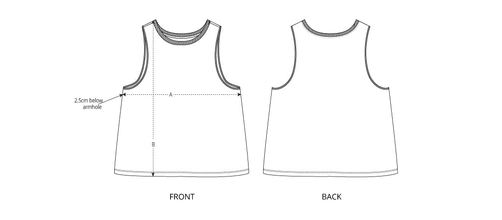 Sizing chart diagram for the Womens Tank Top.
