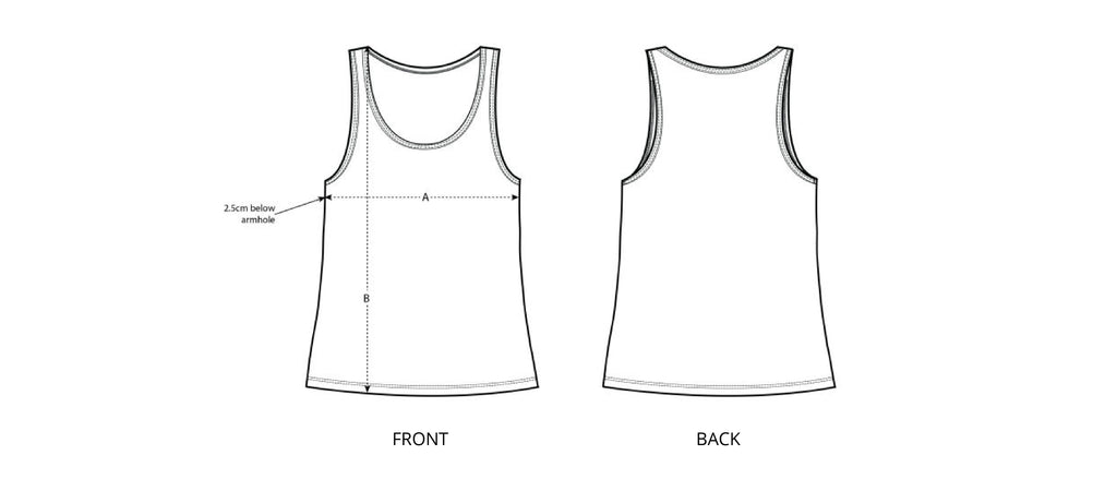 Sizing chart diagram for the Womens Loose Fit Singlet.