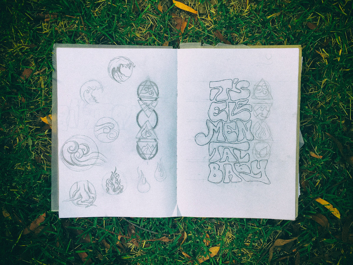 Concept art laid on a grass background – sketch drawings showing the initial stages of Elemental  design.