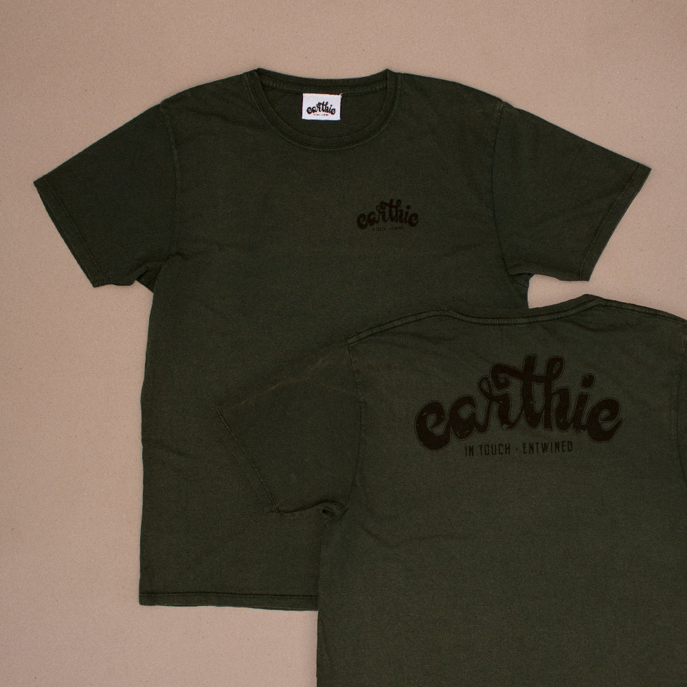 Earthie – Unisex Classic Tee – Stone Wash Green – Small Logo Front Large Logo Back – Front and Back