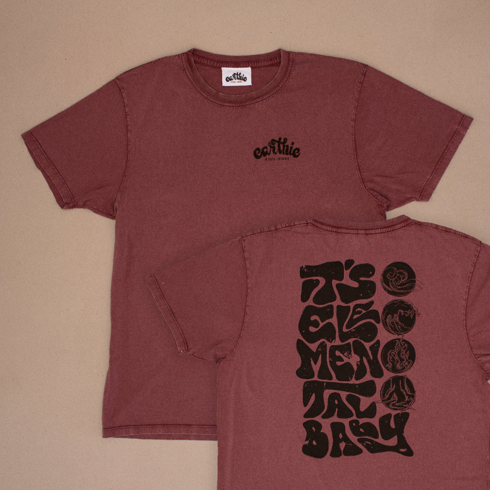 Two Elemental Unisex Classic Tee in Stone Wash Burgundy One Print On with small Earthie logo front right in black other design on back lettering reading It`s Elemental Baby in black with 4 Elements
