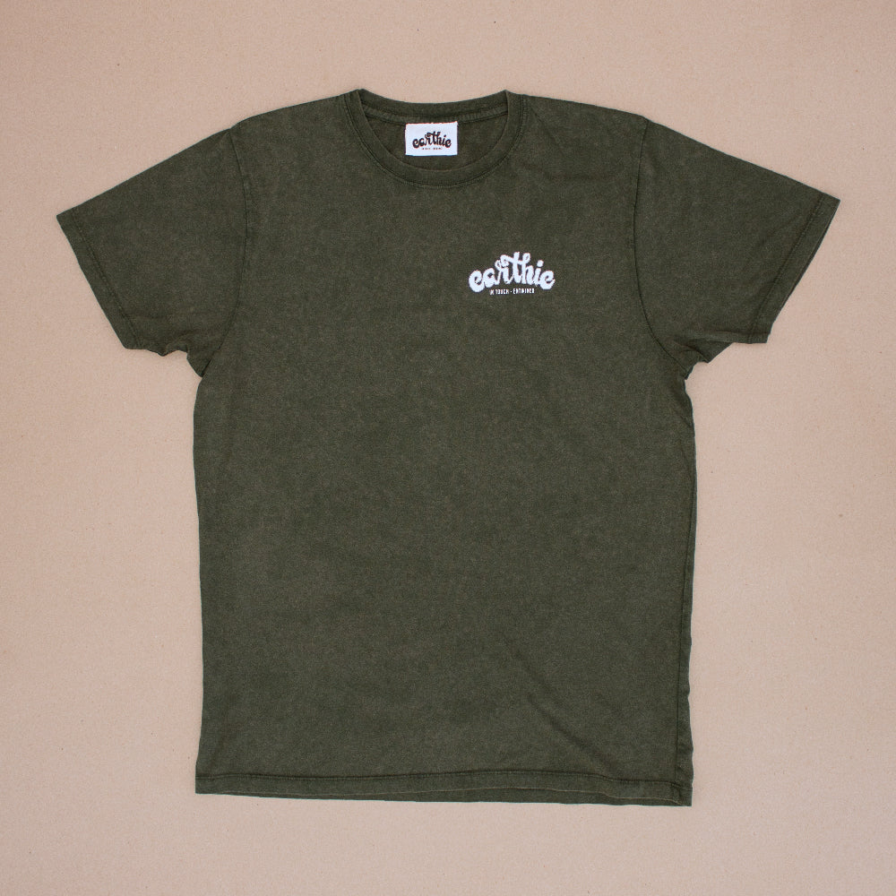 Elemental – Unisex Classic Tee – Stone Wash Green – Print On Back - Front