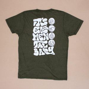 Elemental – Unisex Classic Tee – Stone Wash Green – Print On Back - Earthie