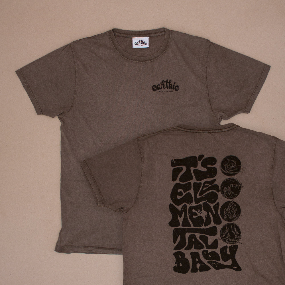 Two Elemental Unisex Classic Tee in Stone Wash Grey One Print On with small Earthie logo front right in black other design on back lettering reading It`s Elemental Baby in black with 4 Elements