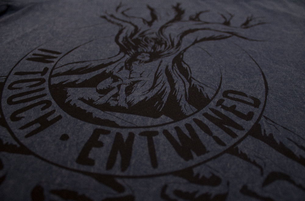 Entwined – Unisex Classic Tee – Stone Wash Denim - Close Up 2