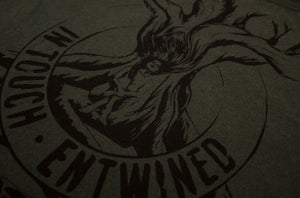 Entwined – Unisex Classic Tee – Stone Wash Green - Close Up