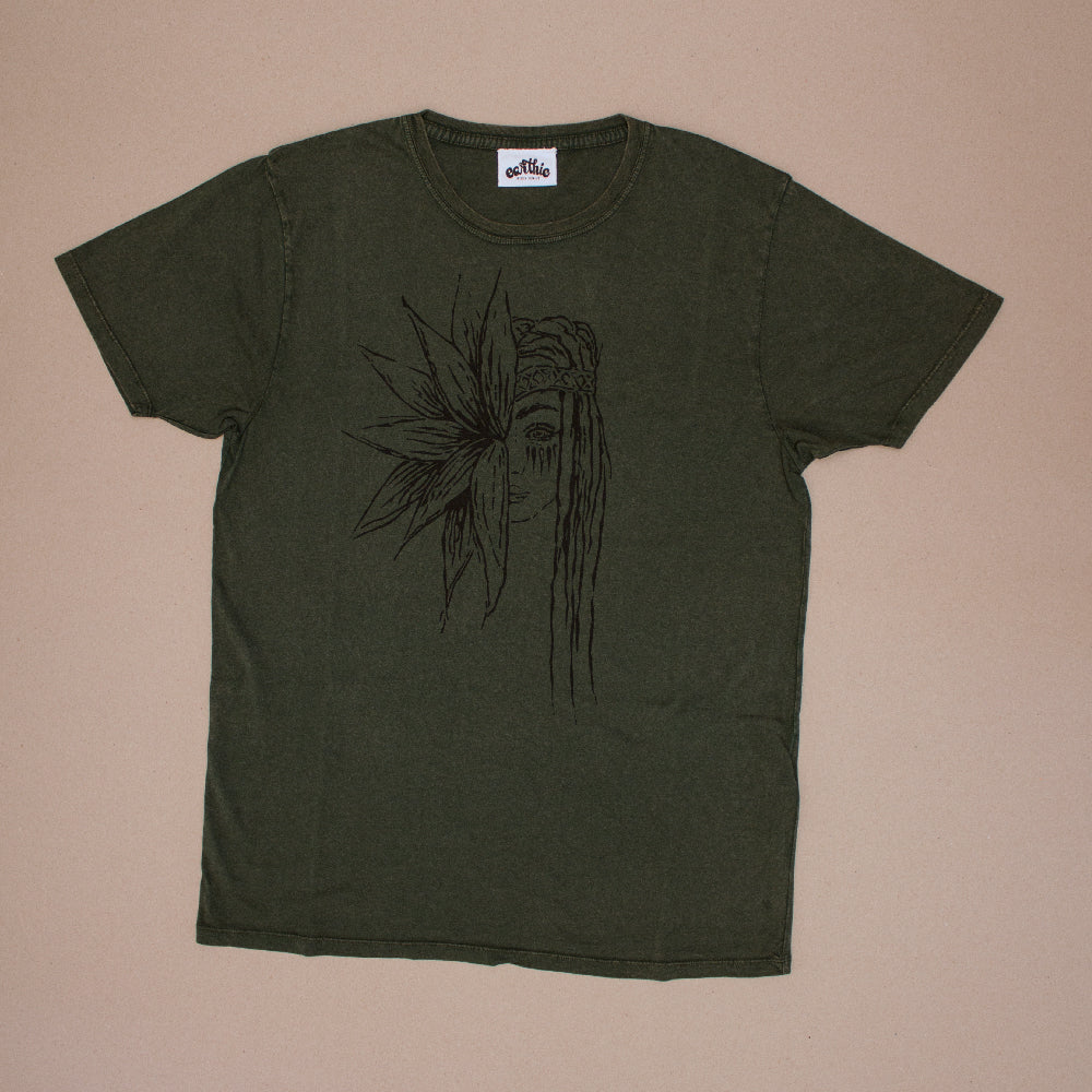 Flower Girl – Unisex Classic Tee – Stone Wash Green - Front