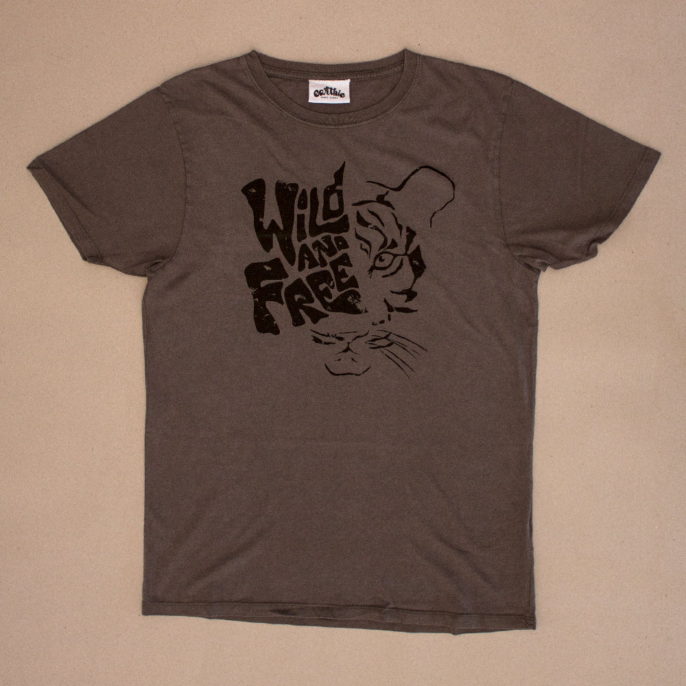 Wild And Free – Unisex Classic Tee – Stone Wash Grey - Front