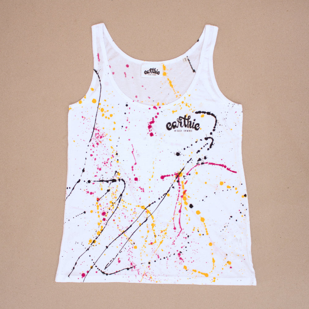 Ink Splatter – Womens Loose Fit Singlet – White - Earthie