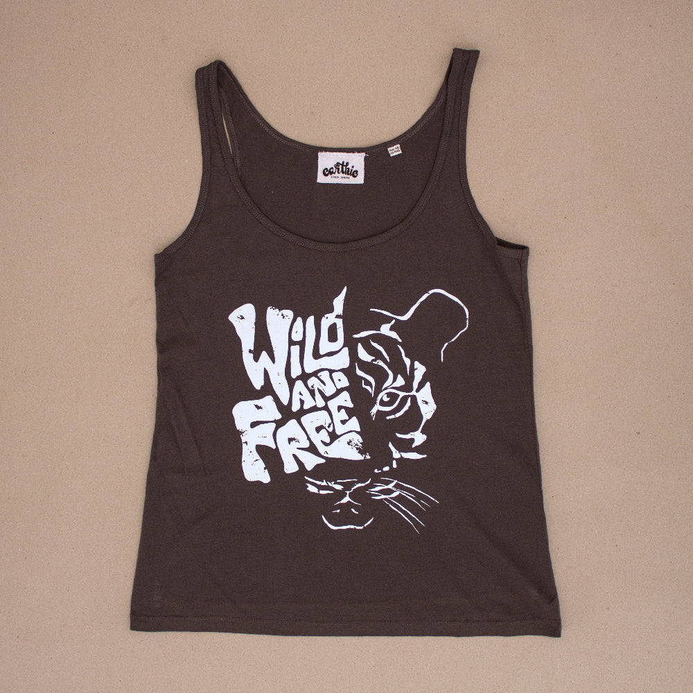 Wild And Free – Womens Loose Fit Singlet – Anthracite - Front