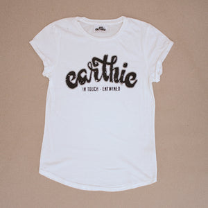 Earthie – Womens Rolled Sleeve Tee – Stone Wash White – Large Logo Front - Earthie