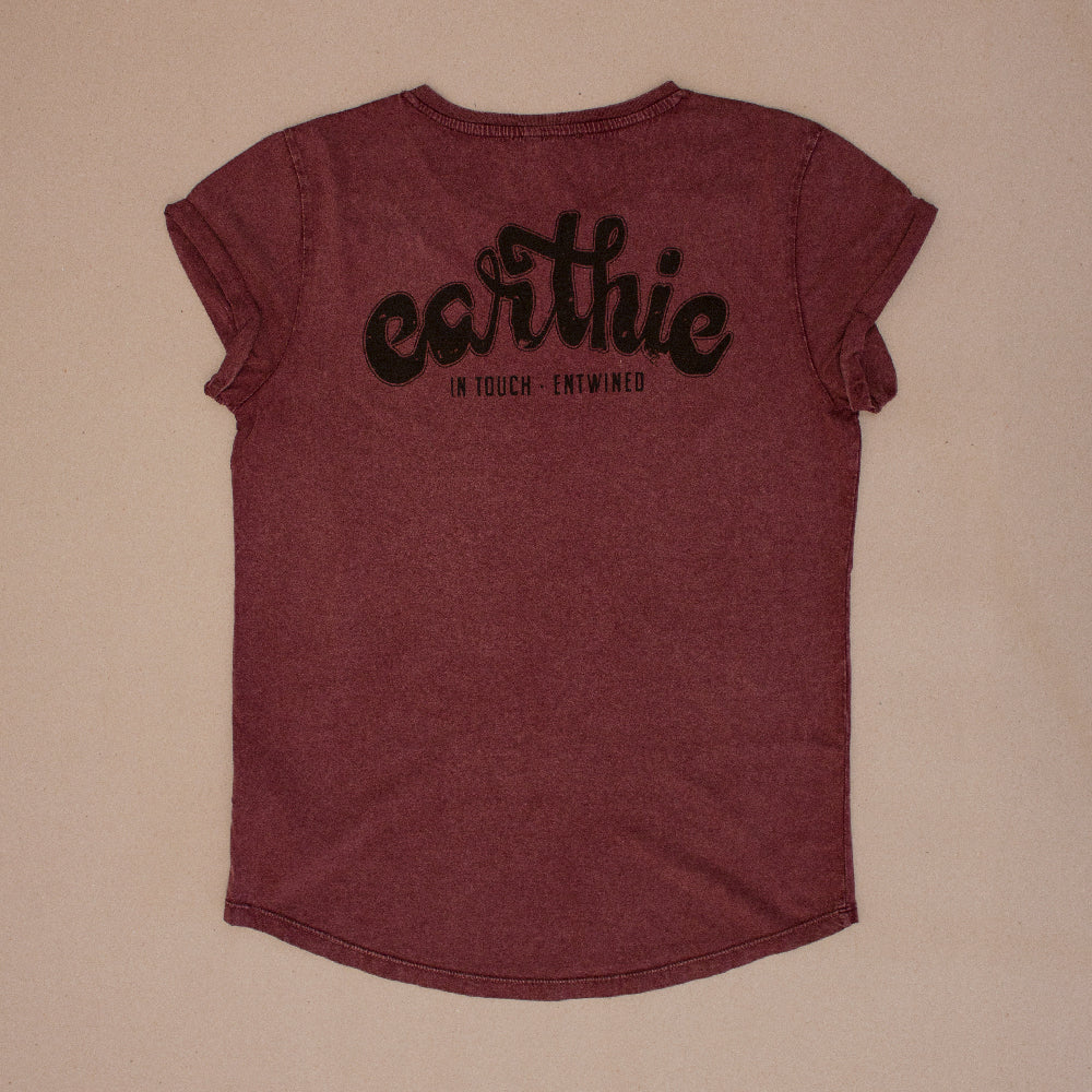 Earthie – Womens Rolled Sleeve Tee – Stone Wash Burgundy – Small Logo Front Large Logo Back - Back