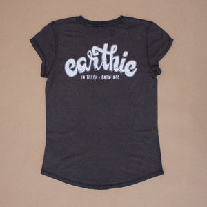 Earthie – Womens Rolled Sleeve Tee – Stone Wash Denim – Small Logo Front Large Logo Back - Back