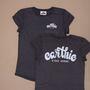 Earthie – Womens Rolled Sleeve Tee – Stone Wash Denim – Small Logo Front Large Logo Back - Front and Back