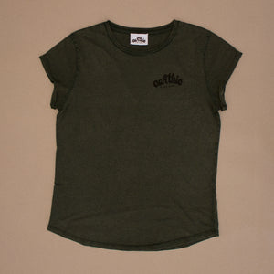 Earthie – Womens Rolled Sleeve Tee – Stone Wash Green – Small Logo Front Large Logo Back - Front
