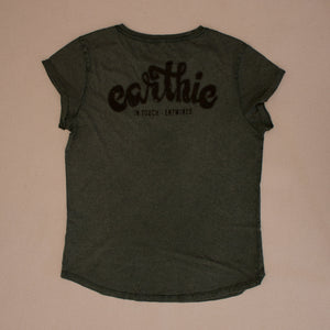 Earthie – Womens Rolled Sleeve Tee – Stone Wash Green – Small Logo Front Large Logo Back - Back
