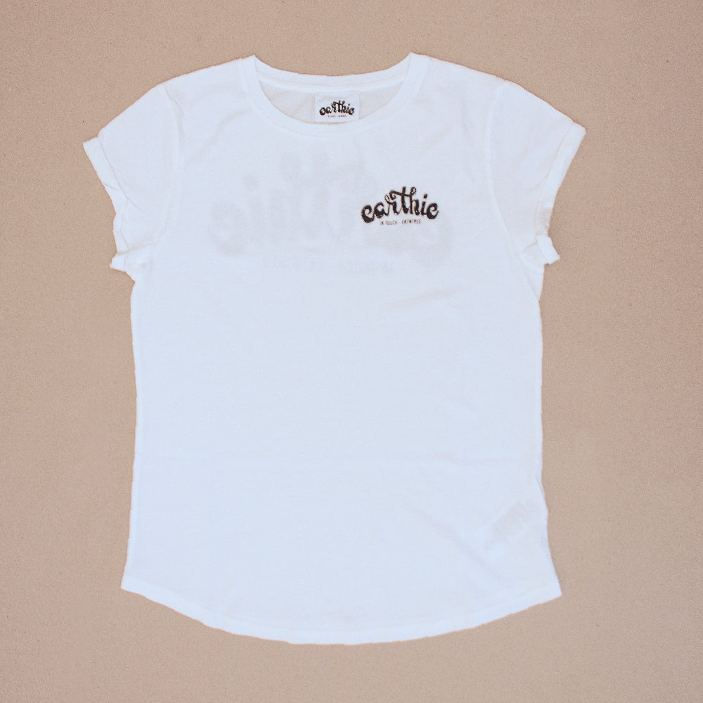 Earthie – Womens Rolled Sleeve Tee – Stone Wash White – Small Logo Front Large Logo Back - Front