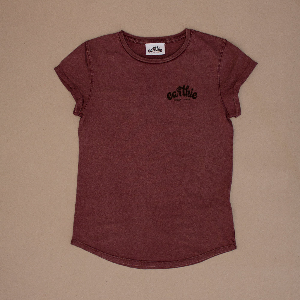 Elemental – Womens Rolled Sleeve Tee – Stone Wash Burgundy – Print On Back - Front