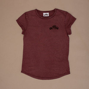 Elemental – Womens Rolled Sleeve Tee – Stone Wash Burgundy – Print On Back - Earthie