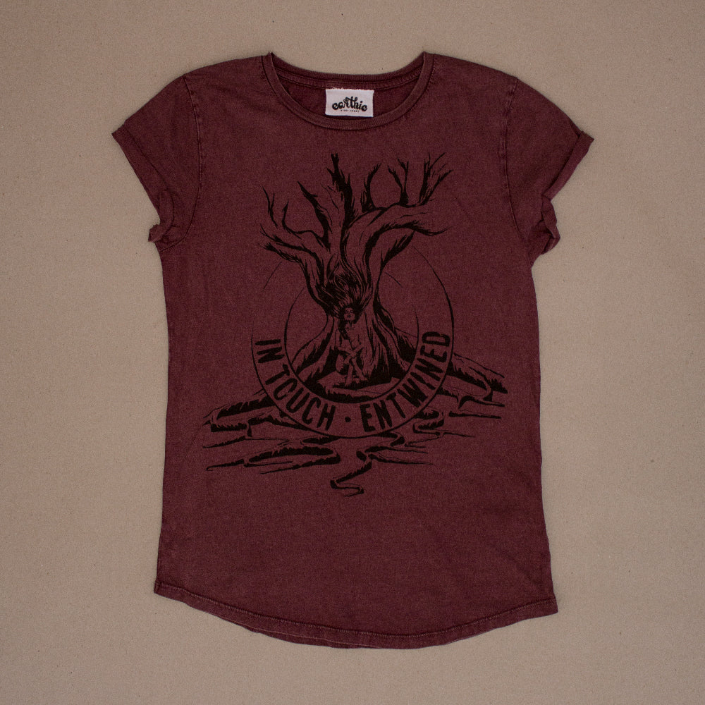 Entwined – Womens Rolled Sleeve Tee – Stone Wash Burgundy - Front
