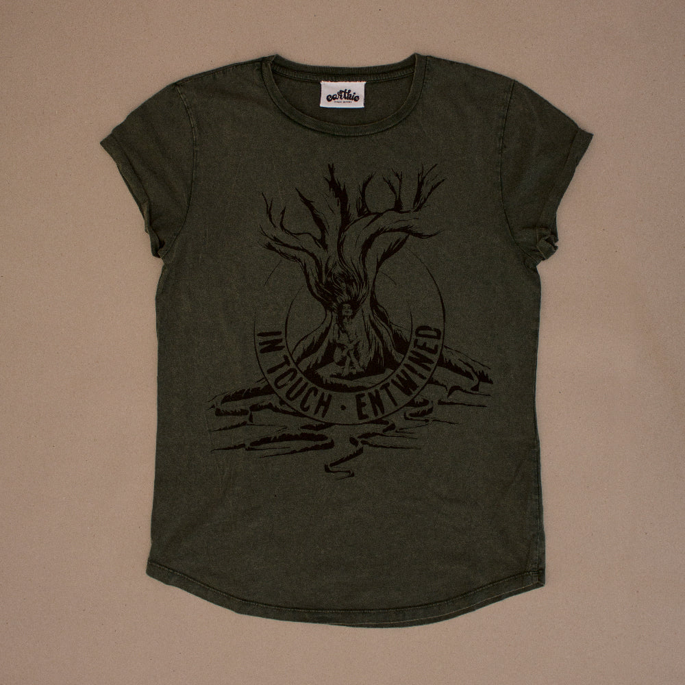Entwined – Womens Rolled Sleeve Tee – Stone Wash Green - Earthie