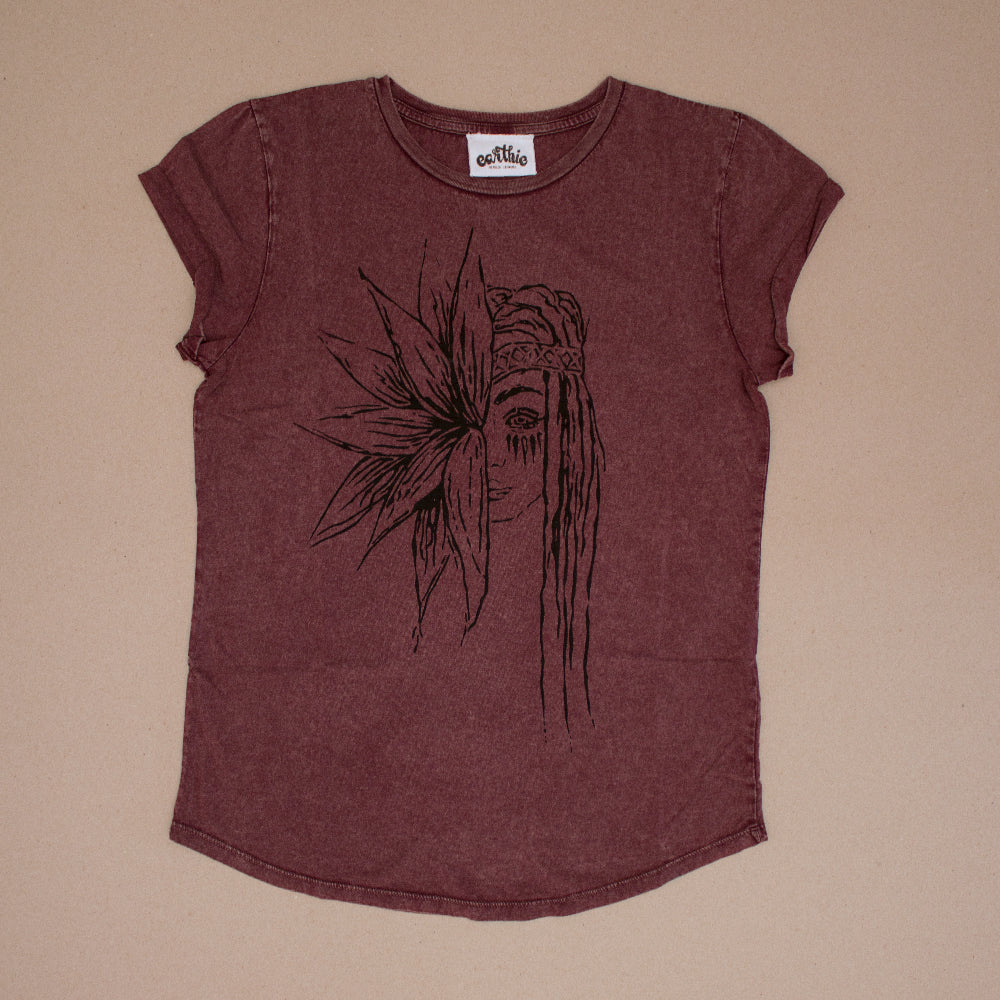 Flower Girl – Womens Rolled Sleeve Tee – Stone Wash Burgundy - Front
