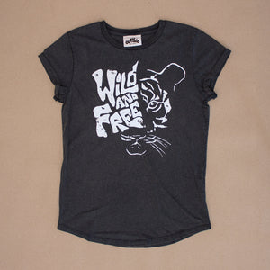 Wild And Free – Womens Rolled Sleeve Tee – Stone Wash Denim - Earthie