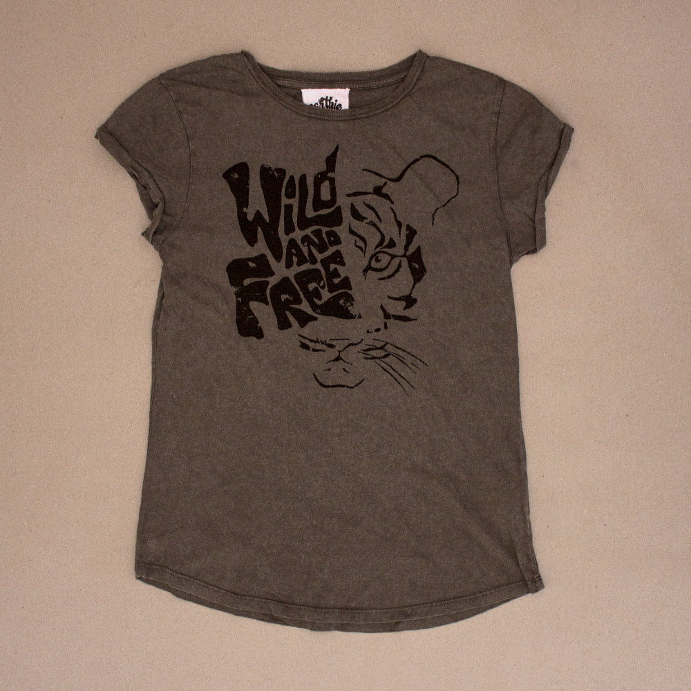 Wild And Free – Womens Rolled Sleeve Tee – Stone Wash Grey - Earthie