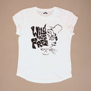 Wild And Free – Womens Rolled Sleeve Tee – Stone Wash White - Earthie