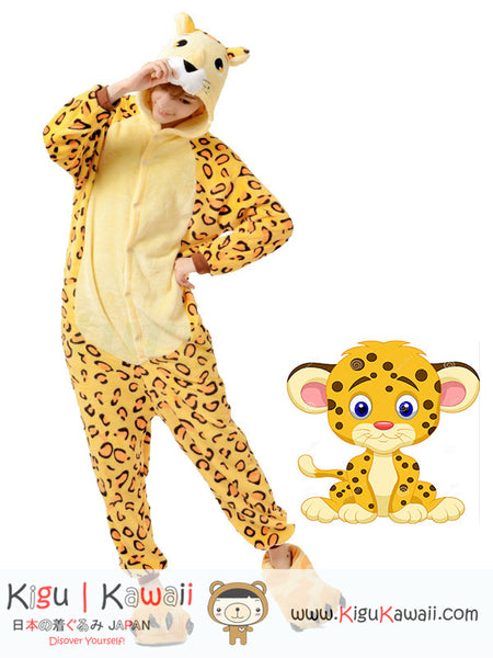 New Cute Adorable Yellow Leopard Adult Animal Kigurumi Onesie KK288