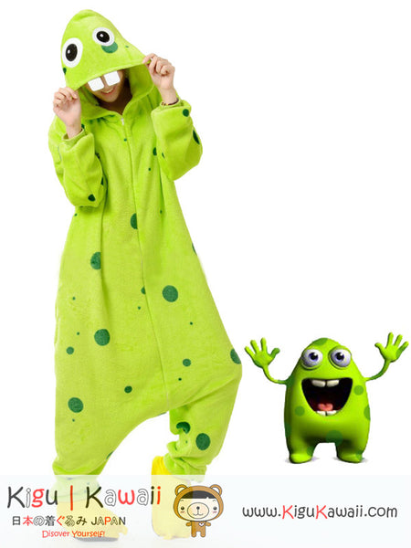 New Funny Energetic Two-Teeth Green Monster Adult Kigurumi Costume Onesie KK296