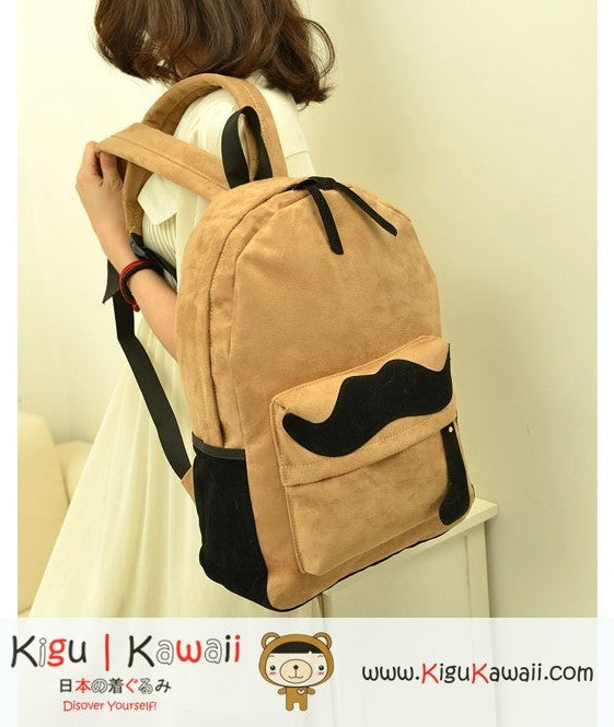 New Cute Mustache Embellished Backpack Bag KK10