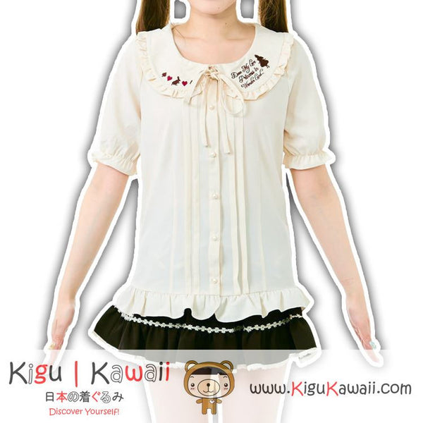 New Simple Kawaii Bunny and Hearts Embroidered Patch Tops Blouse Fashionable KK711
