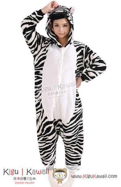New Fantastic Zebra Adult Animal Winter Kigurumi Fleece Onesie KK849