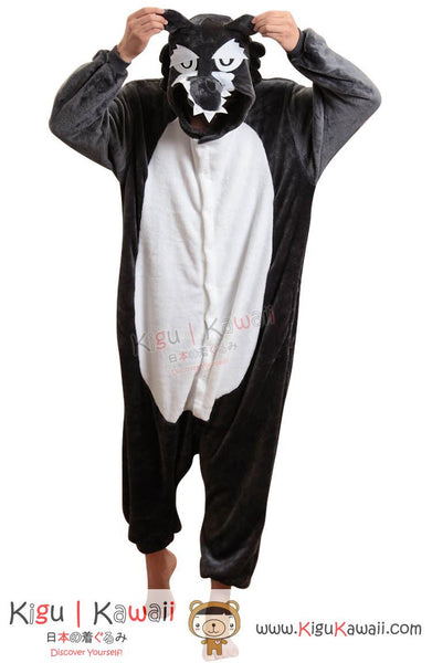 New Brave Black Wolf Adult Animal Winter Kigurumi Fleece Onesie KK852