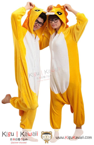 New Brave Golden Lion Adult Animal Winter Kigurumi Fleece Onesie KK853