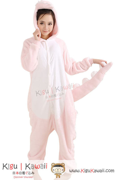 New Pink Dinosaur Adult Animal Winter Kigurumi Fleece Onesie KK860