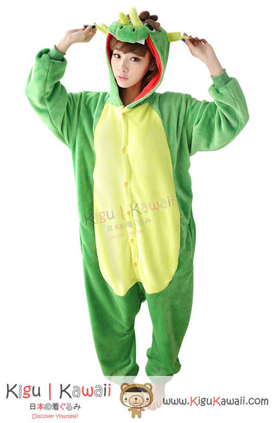New Green Dragon Adult Animal Winter Kigurumi Fleece Onesie KK865