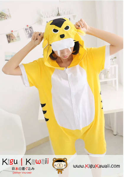 New Yellow Tiger Adult Unisex Spring and Summer Kigurumi Onesie KK219