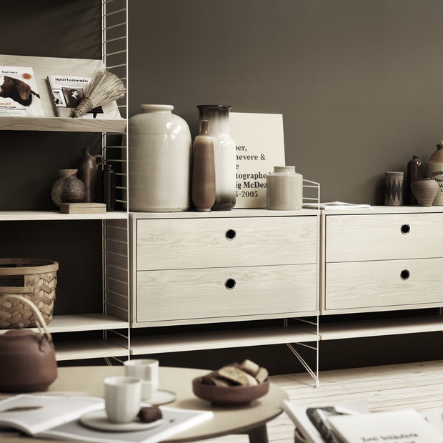 String Komoda Chest with Drawers 78 x 30 cm, Grey - DESIGNSPOT