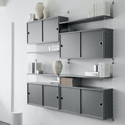 String Skříňka Cabinet with Sliding Doors, Grey - DESIGNSPOT