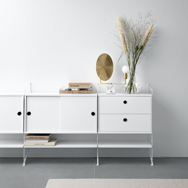 String Komoda Chest with Drawers 58 x 30 cm, Oak - DESIGNSPOT