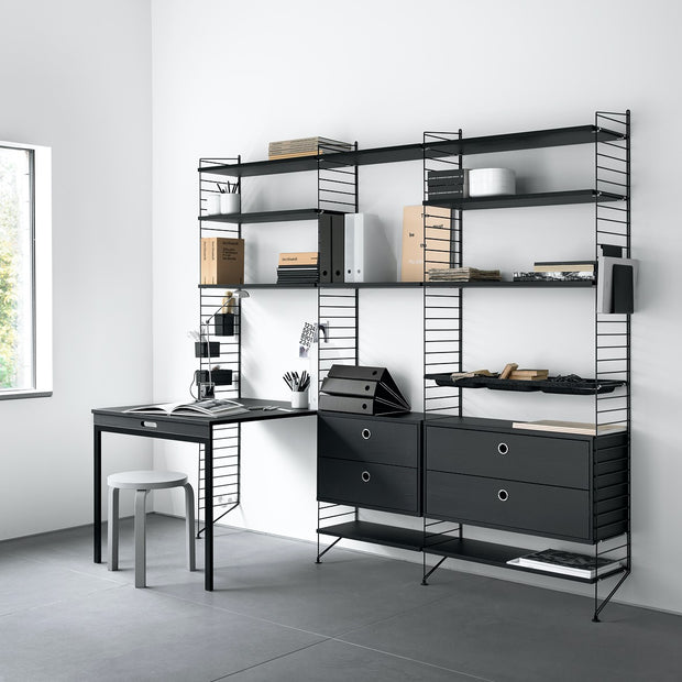 String Skříňka Cabinet with Sliding Doors, Black - DESIGNSPOT
