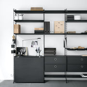 String Komoda Chest with Drawers 58 x 30 cm, Black - DESIGNSPOT