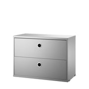 String Komoda Chest with Drawers 58 x 30 cm, Grey - DESIGNSPOT