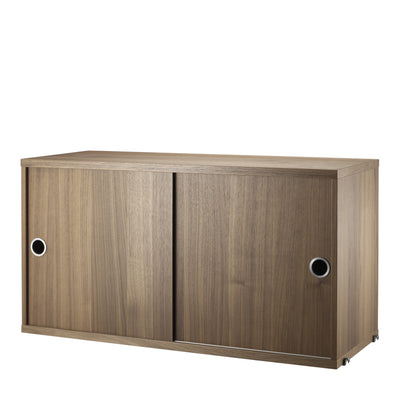 String Skříňka Cabinet with Sliding Doors, Walnut - DESIGNSPOT